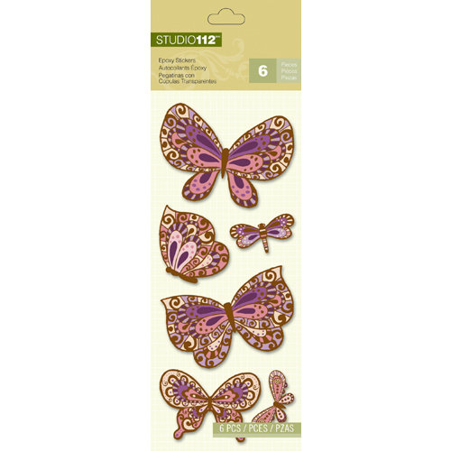 K and Company - Studio 112 Collection - Epoxy Stickers - Butterfly