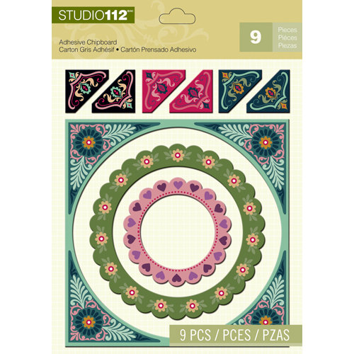 K and Company - Studio 112 Collection - Adhesive Chipboard with Glitter Accents - Frame