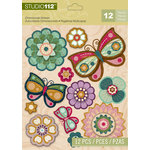 K and Company - Studio 112 Collection - 3 Dimensional Stickers with Glitter Accents - Flower & Butterfly