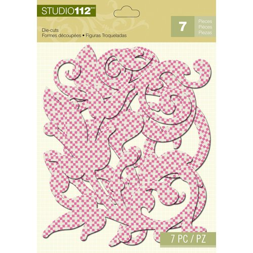 K and Company - Studio 112 Collection - Dazzle Die Cut Pieces - Pink Dazzle Swirl