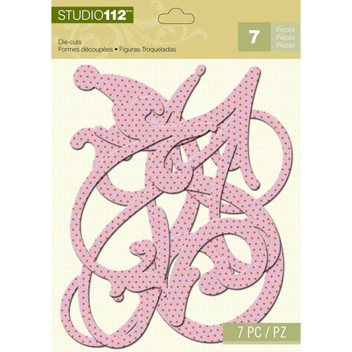 K and Company - Studio 112 Collection - Dazzle Die Cut Pieces - Purple Dotted Dazzle Swirl