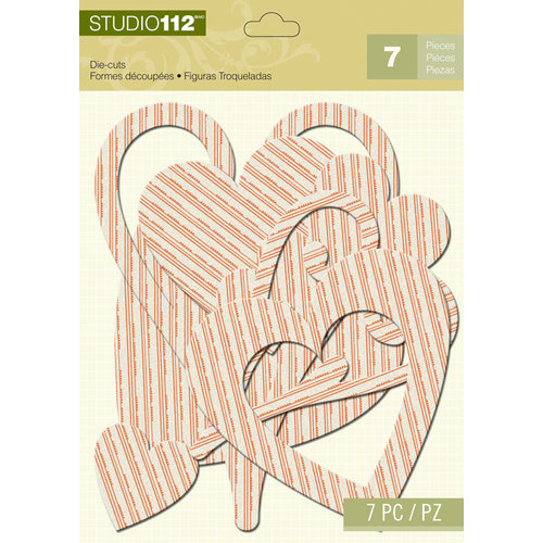 K and Company - Studio 112 Collection - Dazzle Die Cut Pieces - Orange Dazzle Heart