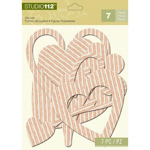 K and Company - Studio 112 Collection - Dazzle Die Cut Pieces - Orange Dazzle Heart