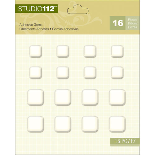 K and Company - Studio 112 Collection - Adhesive Gems - Square Pearl