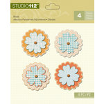 K and Company - Studio 112 Collection - Shaped Brads - Blue and Orange Flower