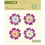 K and Company - Studio 112 Collection - Shaped Brads - Purple Flower