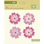 K and Company - Studio 112 Collection - Shaped Brads - Pink Flower