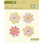 K and Company - Studio 112 Collection - Shaped Brads - Pink and Yellow Flower