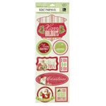 K and Company - Christmas Cheer Collection - Embossed Stickers with Glitter Accents - Words