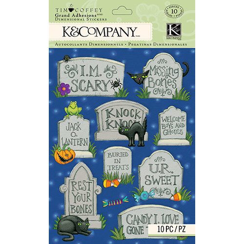 K and Company - Tim Coffey - Halloween - Grand Adhesions with Glitter Accents - Tombstone
