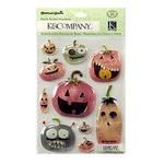 K and Company - Tim Coffey - Halloween - 3 Dimensional Stickers - Snow Globe - Jack O Lantern