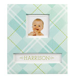 K and Company - Frame a Name Scrapbook Album - 8.5 x 11 - Blue Plaid