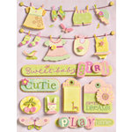 K and Company - Grand Adhesions - Brenda Walton Collection - Small Wonders - Girl Clothesline