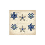 K and Company - Blue Awning Collection - Metal Art - Beaded Flower Brads, CLEARANCE
