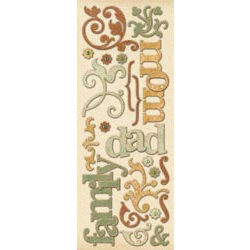 K and Company - Ancestry.com Collection - Adhesive Chipboard - Words and Swirls