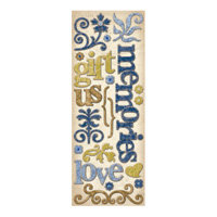 K and Company - Blue Awning Collection - Adhesive Chipboard - Words and Swirls