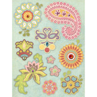 K and Company - Wild Raspberry Collection - Grand Adhesions Stickers - Floral, CLEARANCE