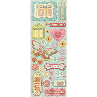 K and Company - Wild Raspberry Collection - Adhesive Chipboard - Words and Buttons