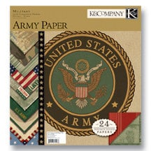 K and Company - Military Collection - 12x12 Patterned Cardstock Double Sided Paper Pad - Army