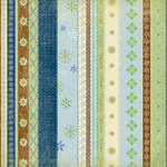 K and Company - 12x12 Paper - Brownie Girl Scouts Collection - Blue Decorative Stripes