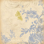 K and Company - Blue Awning Collection - 12x12 Paper - Flowers and Butterfly