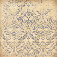 K and Company - Blue Awning Collection - 12x12 Paper - Blue and Ivory Damask