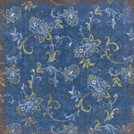 K and Company - Blue Awning Collection - 12x12 Paper - Blue Swirl Floral