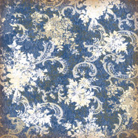K and Company - Blue Awning Collection - 12x12 Embossed Paper - Blue Floral