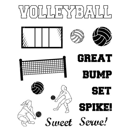 Karen Foster Design - Clear Acrylic Stamps - Volleyball