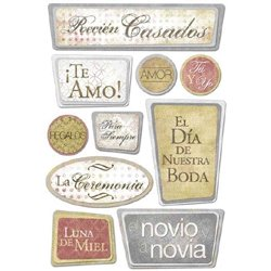 Karen Foster Design - Spanish Momentos Collection - Sticker - Our Wedding - Recien Casados, CLEARANCE