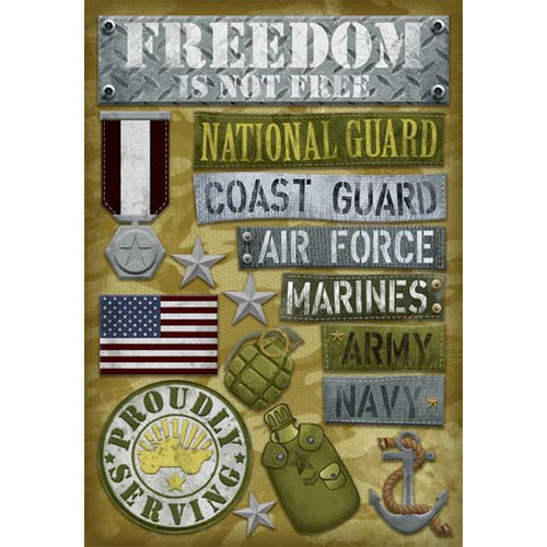 Karen Foster Design - Military Collection - Cardstock Stickers - Proudly Serving