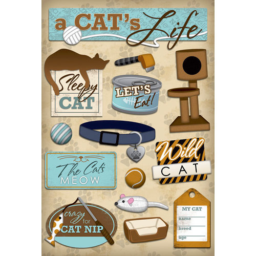 Karen Foster Design - Cat Collection - Cardstock Stickers - A Cat's Life
