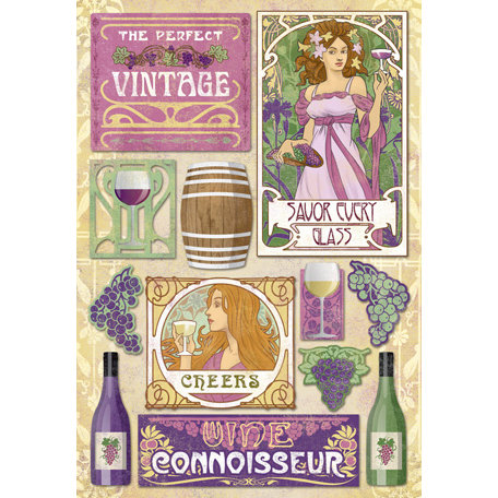 Karen Foster Design - Winery Collection - Cardstock Stickers - The Perfect Vintage
