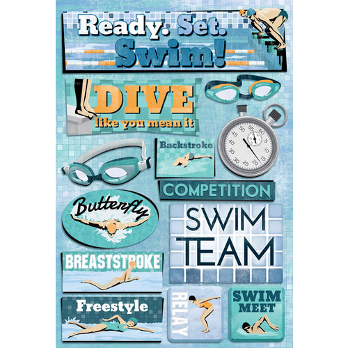 Karen Foster Design - Swimming Collection - Cardstock Stickers - Ready. Set. Swim.