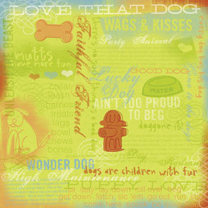 Karen Foster Design - A Dog's Life Collection - Patterned Paper - Dog Collage