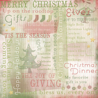 Karen Foster Design - Christmas Collection - 12x12 Paper - Merry Christmas Collage