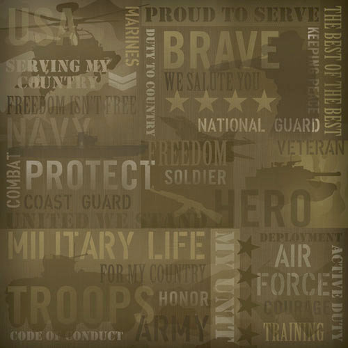 Karen Foster Design - Military Collection - 12 x 12 Paper - Military Collage
