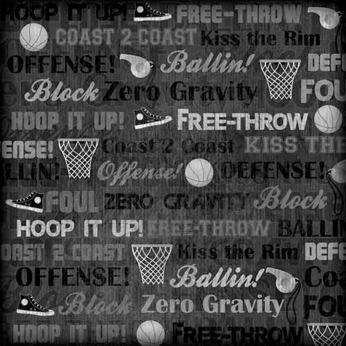 Karen Foster Design - Basketball Collection - 12 x 12 Paper - Hoop It Up Collage
