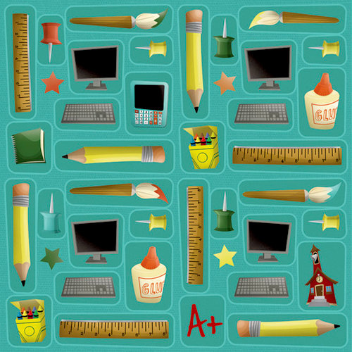 Karen Foster Design - School Collection - 12 x 12 Paper - School Supplies