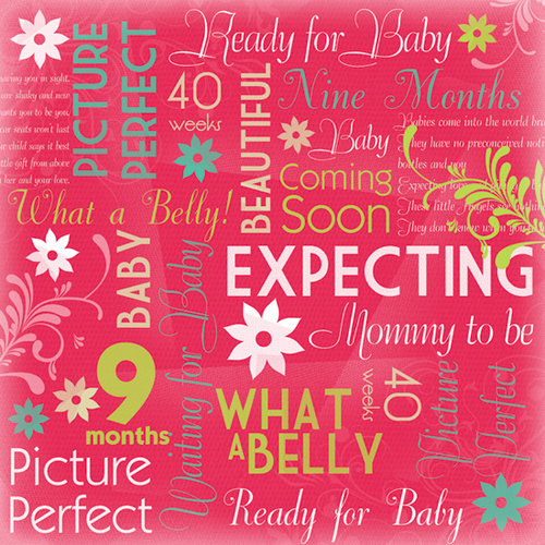 Karen Foster Design - Maternity Collection - 12 x 12 Paper - Mommy To Be Collage