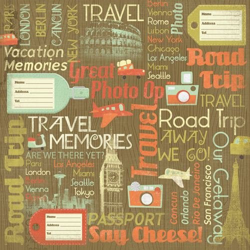 Karen Foster Design - Travel Collection - 12 x 12 Paper - Travel Memories Collage