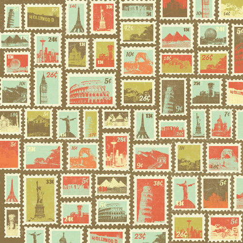 Karen Foster Design - Travel Collection - 12 x 12 Paper - World Stamps