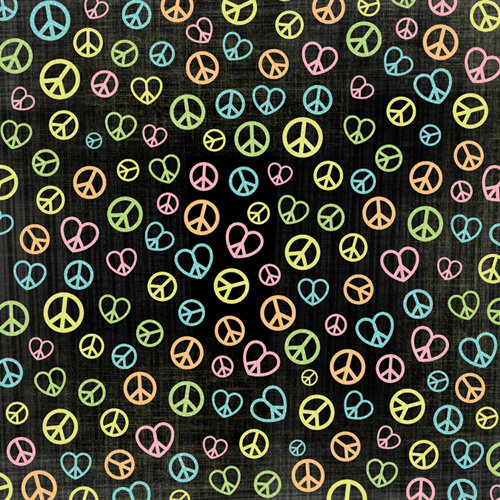 Karen Foster Design - Peace Collection - 12 x 12 Paper - Peace Signs
