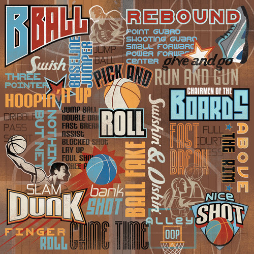 Karen Foster Design - Basketball Collection - 12 x 12 Paper - B-Ball Collage