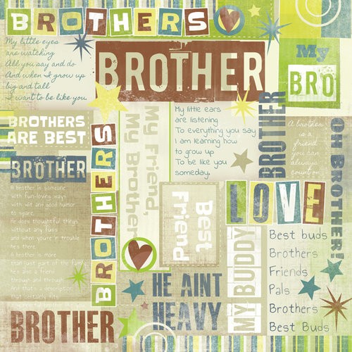 Karen Foster Design - Brothers Collection - 12 x 12 Paper - Brothers Are Best Collage