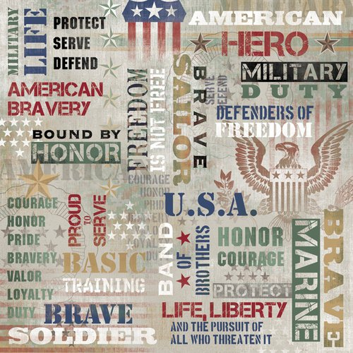Karen Foster Design - Military Collection - 12 x 12 Paper - American Hero Collage