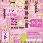 Karen Foster Design - Shopping Diva Collection - 12 x 12 Paper - I Love To Shop Collage