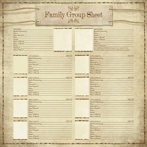 Karen Foster Design - Ancestry Collection - 12 x 12 Paper - My Family Group Sheet