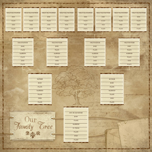 Karen Foster Design - Ancestry Collection - 12 x 12 Paper - Our Family Tree Chart