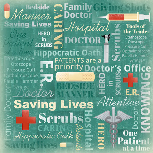 Karen Foster Design - Doctor Collection - 12 x 12 Paper - Family Doctor Collage